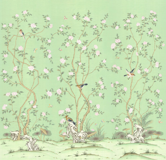Chinoiserie wall mural lantilly triptych emerald asian for Chinoiserie mural wallpaper