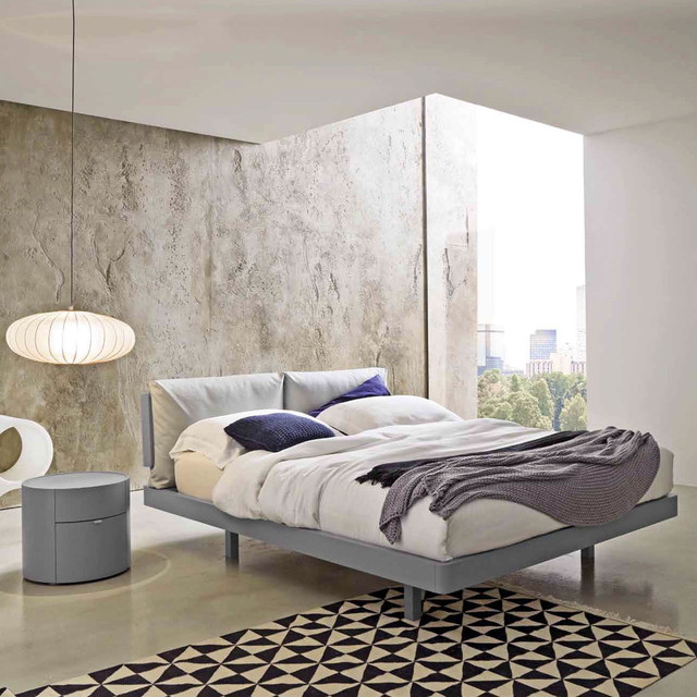 Houzz Modern Bedroom Furniture: 'Gemo' Modern Wooden Bed With Upholstered Headboard By