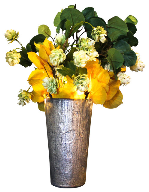 Hops and aspen illuminated floral design white frosted for Artificial hops decoration