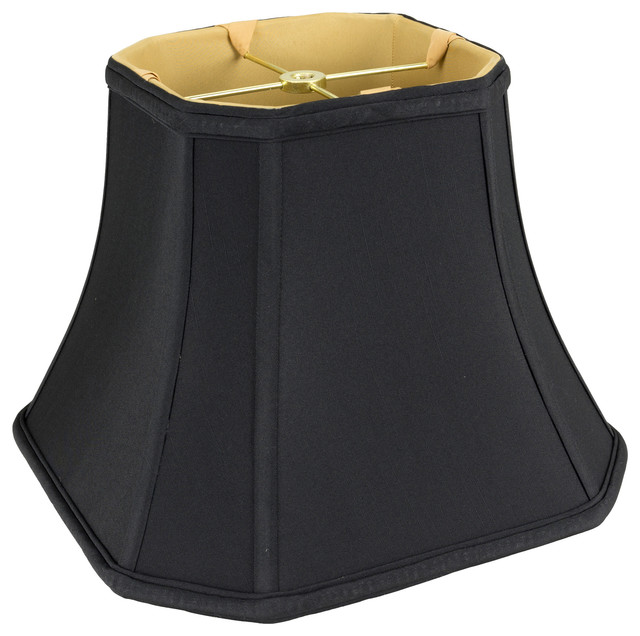 Square Cut Corner Bell Soft Back, Gold Lining And Spider Washer, Black - Lamp Shades - by Monter ...