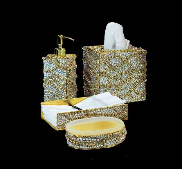 Bella lux glass mirror rhinestone bathroom set dispenser for Bathroom accessories with bling