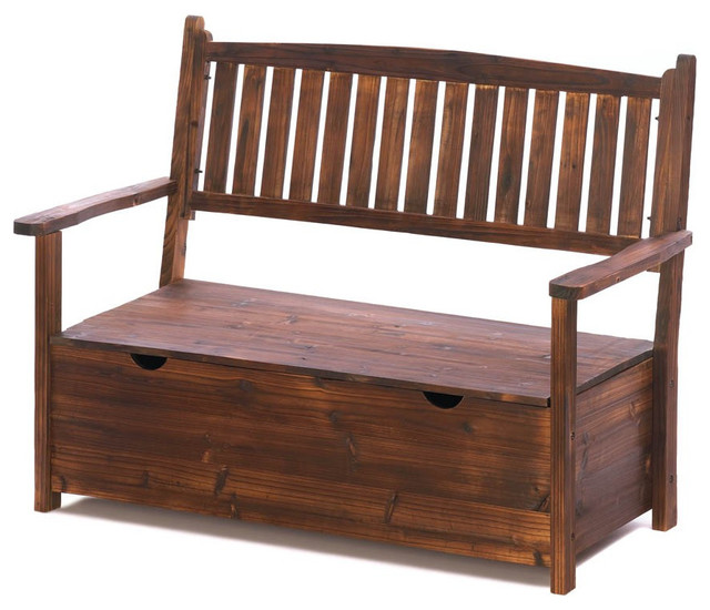 Garden Grove Storage Bench Rustic Outdoor Benches By Agm Home Store