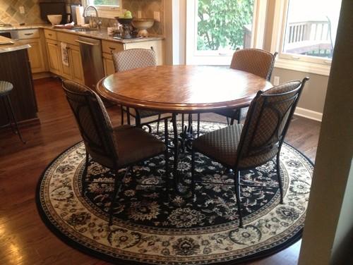 Need Help On What Shape Rug To Put Under Round Kitchen
