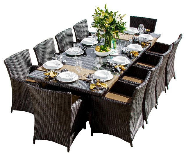 Contemporary Outdoor Dining Sets: Avery Island 10-Person Resin Wicker Patio Dining Set With