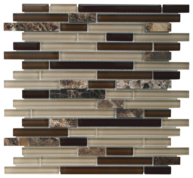 Linear glass tile backsplash