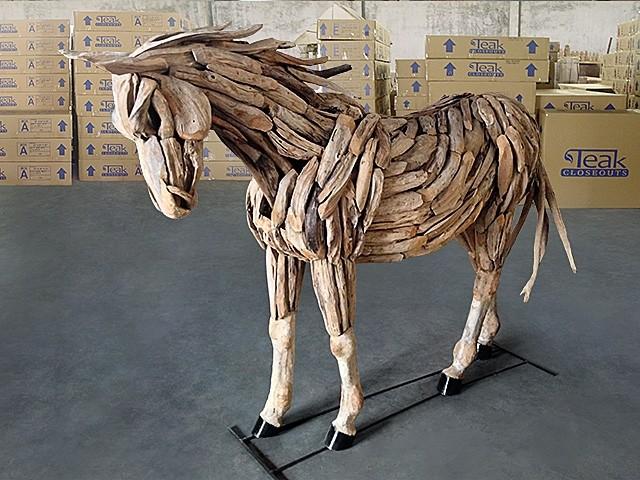 Teak Scraps Horse - Standing Pose #006 - Garden Statues And Yard Art - other metro - by Teak ...