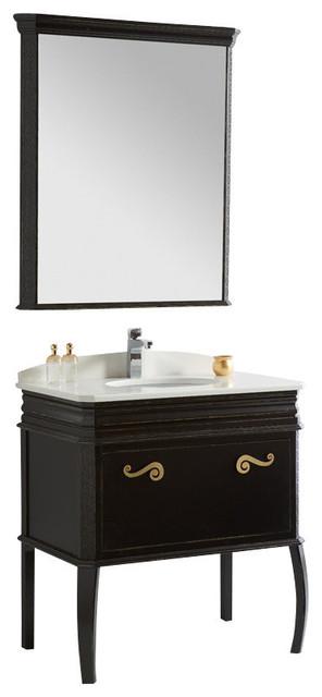 "Fresca Platinum London 32"" Antique Black Bathroom Vanity w/ Swarovski Handles - Classico ..."