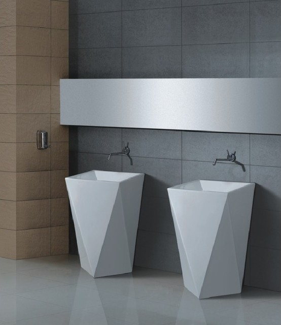 Aqua DIAMANTE Pedestal Sink Modern Bathroom Vanities And Sink Consoles