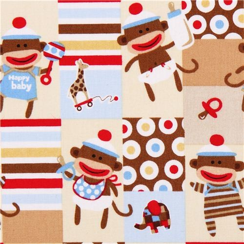 Beige baby monkey fabric zoe zack quilting treasures for Baby monkey fabric prints