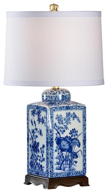 Chelsea House Lotus Small Blue Table Lamp 68631 Par