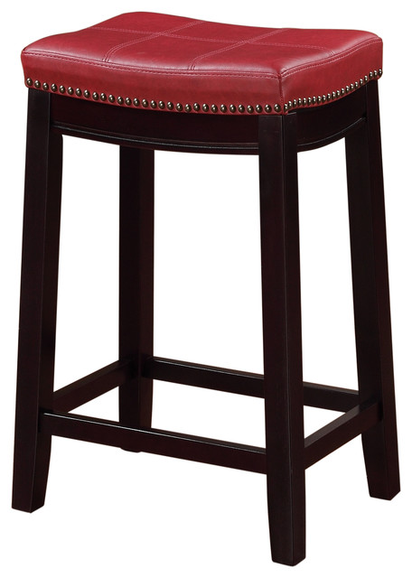 Claridge Red Counter Stool Transitional Bar Stools And