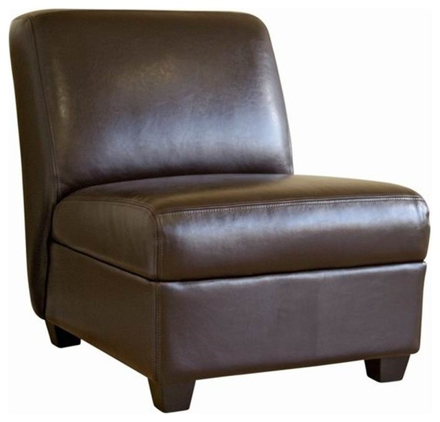 Dark Brown Comfortable Armless Leather Club Chair Transitional Armchairs And Accent Chairs
