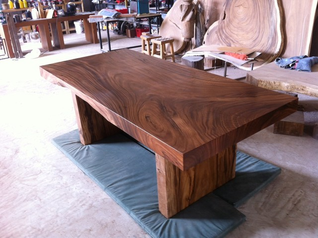 Solid Slab Acacia Wood Dining Table by Flowbkk