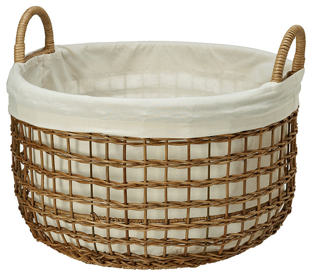 Open Weaver Wicker Basket with Liner, Large - Contemporary - Baskets ...