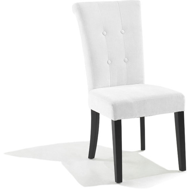 Tufted Off White Fabric Dining Chair Set Of 2 Contemporary Dining Chair