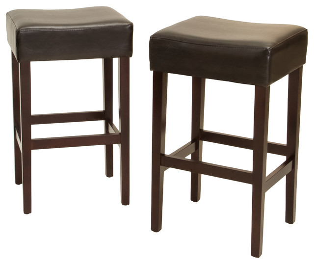 Duff Backless Leather Counter Stools Set Of 2 Brown
