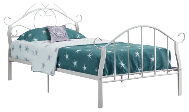White Metal Twin Size Bed Frame Only Contemporary Kids Beds