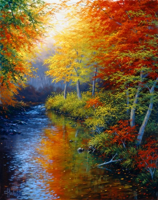 Reflections of autumn white wall mural contemporary for Autumn wall mural