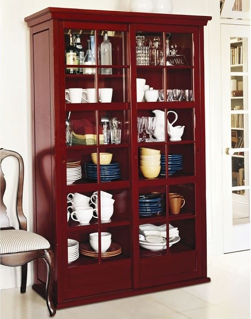Garrett Glass Cabinet, Ming Red - Contemporary - by Pottery Barn