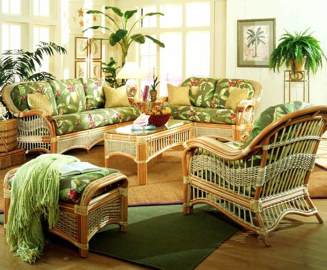 6 Pc Indoor Rattan Living Room Set Baja Lemon All Weather Traditional Living Room