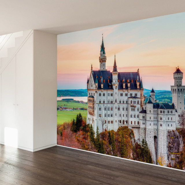 Neuschwanstein castle wall mural decal 4 panel for Castle mural wallpaper