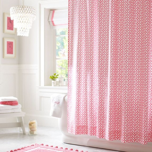 Pink And Green Polka Dot Shower Curtain - Shower Designs