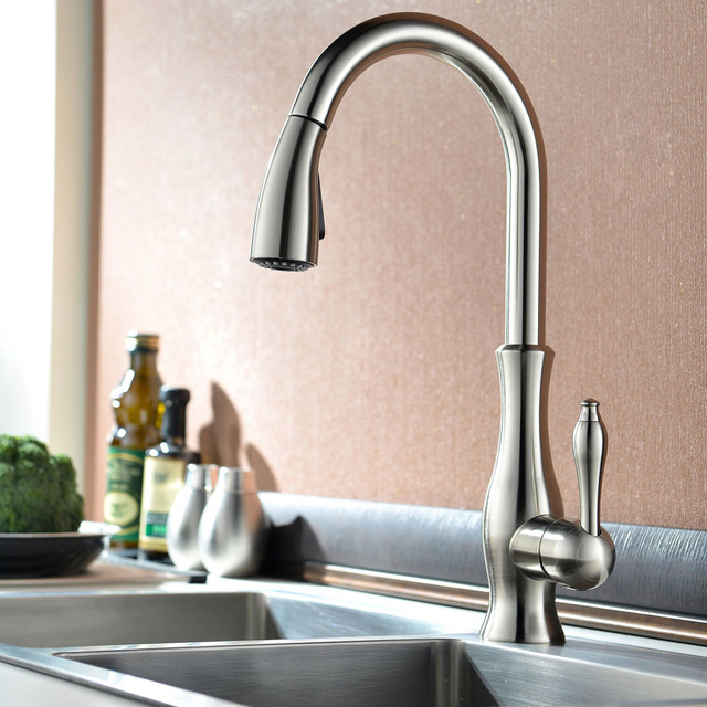 Tracier Swanneck Monobloc Kitchen Mixer Tap With Pull Out