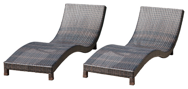 Grecian outdoor brown wicker chaise lounge chairs set of for Brown wicker chaise lounge