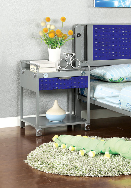 Furniture of america brennise metal tray top nightstand for Metal night stands bedroom