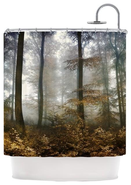 Iris Lehnhardt Forest Mystics Brown Gray Shower Curtain Contemp
