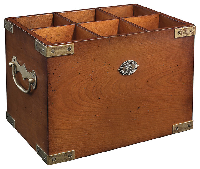 """By Land and By Sea"" 6-Cubby Wooden Box - Traditional - Storage Bins And Boxes - by Authentic Models"