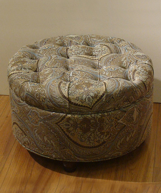 Brown Amp Teal Paisley Button Tufted Round Storage Ottoman