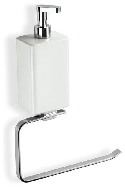 Towel Soap Dispenser ~ Chrome towel holder with white soap dispenser
