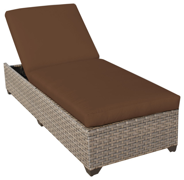 Monterey chaise outdoor wicker patio furniture cocoa for Asian chaise lounge