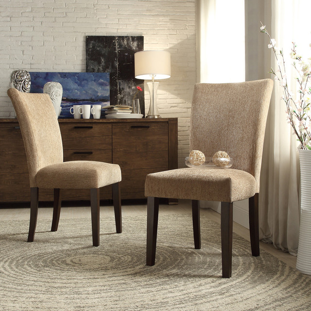 Inspire q catherine tan chenille parsons dining chair set for Inspire q dining room chairs