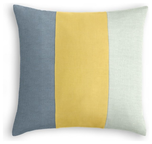 Muted Blue, Yellow and Pale Seafoam Linen Color Block Pillow - Beach Style - Decorative Pillows ...
