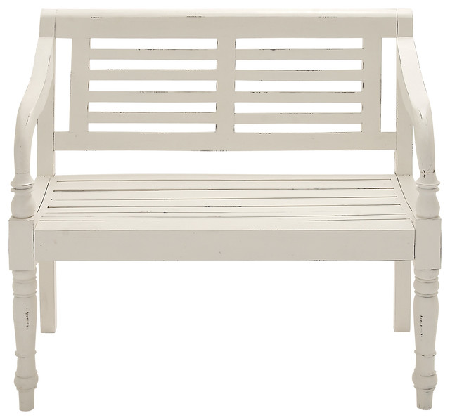 White Wooden Bench Beach Style Outdoor Benches By