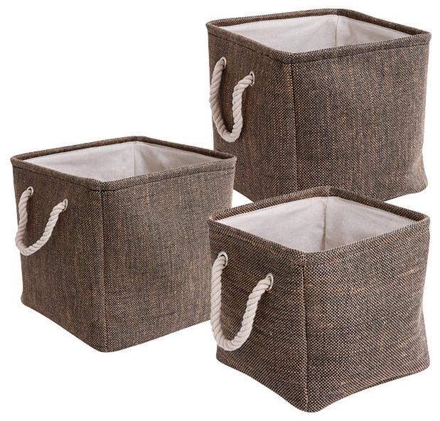 Set Of 3 Square Fabric Storage Baskets - Contemporary ...