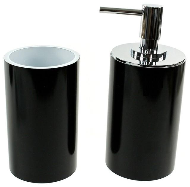 Fashionable 2 piece black bathroom accessory set for Black bathroom accessories set