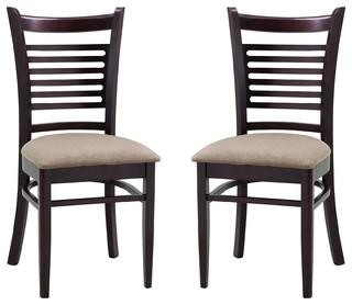 Abbyson Living Bahama Light Brown Fabric Dining Chair Set Of 2 Contempora