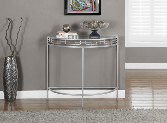 Silver metal 36 inch hall console accent table for 36 inch console table