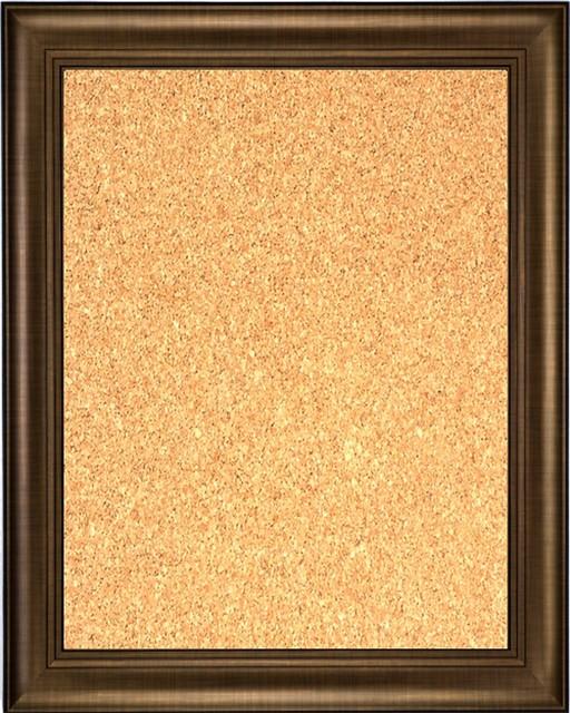 Framed cork board 24 x 36 with bronze finish frame for Modern cork board