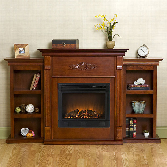 Dublin Mahogany Bookcase Electric Fireplace With Remote