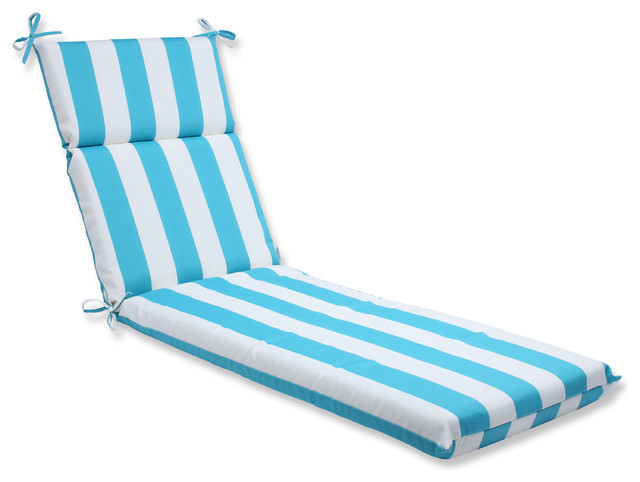 Pillow perfect outdoor cabana stripe turquoise chaise for Aqua chaise lounge cushions