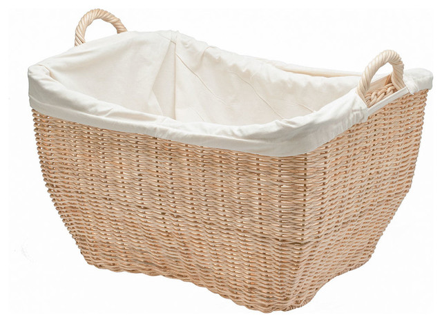 Wicker laundry basket with liner natural contemporary baskets other metro by kouboo - Wicker hamper with liner ...