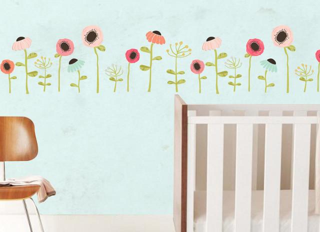 Growing floral wall decal modern nursery decor - Modern nursery wall decor ...