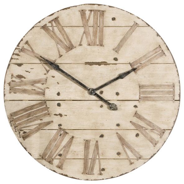 Uttermost Harrington Wall Clock in Antiqued Ivory Face Farmhouse Wall Clo