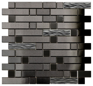 Black Stainless With Black Wave Glass Mosaic Tile, Sample ...