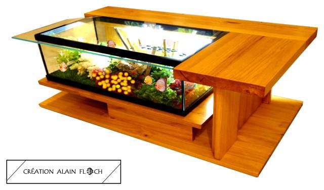 Offrez une table basse aquarium à vos poissons rouges  Gojimag