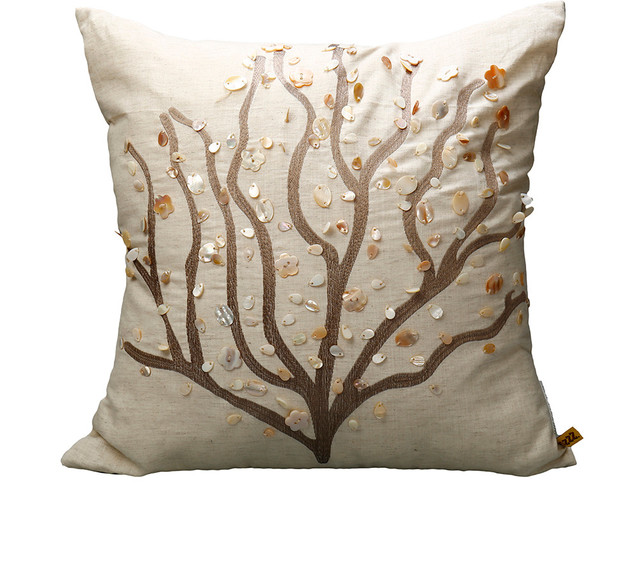 Handmade Embroidery Coral Branch Decorative Pillow contemporary-decorative-pillows